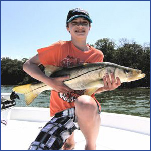 Cooper Adkisson from Tennessee holding a snook dinner!